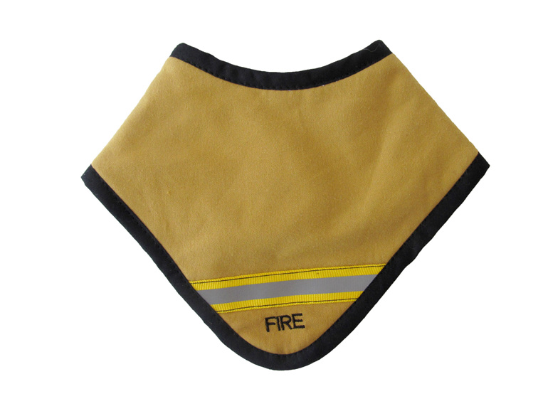 A cute little fire dribble bib for baby.