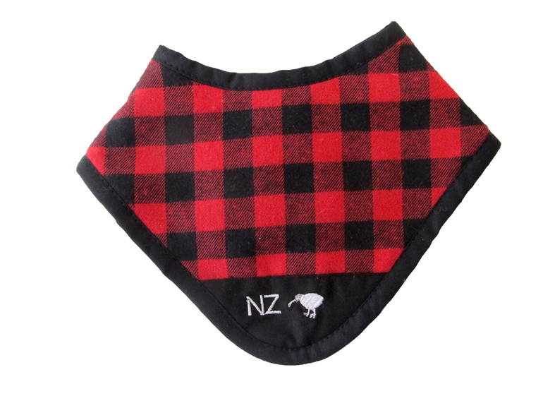 A cute little red dribble bib for baby.