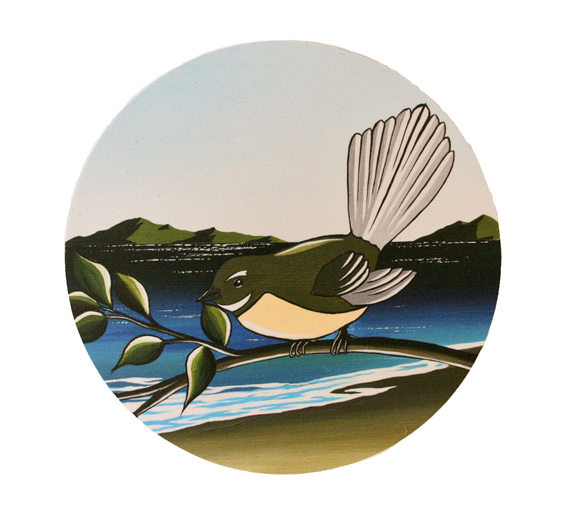 A painting of a fantail by Debbie Morgan.