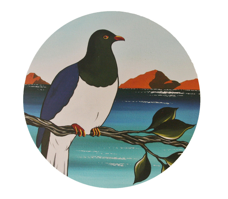 A painting of a Kereru by Debbie Morgan.