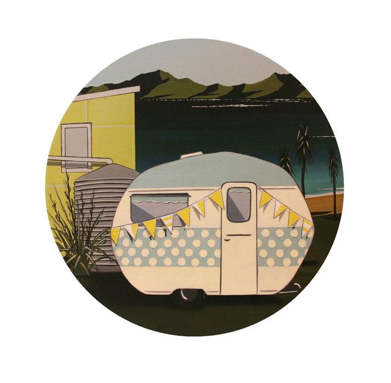 A painting of a retro Kiwi caravan parked at a Bach by the sea by Debbie Morgan.