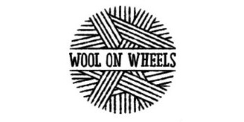 A stylished ball of wool with the words Wool on Wheels through the centre