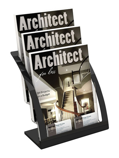 A4 Brochure Holder 3 tier, Black Frame 693704 brochure holders nz