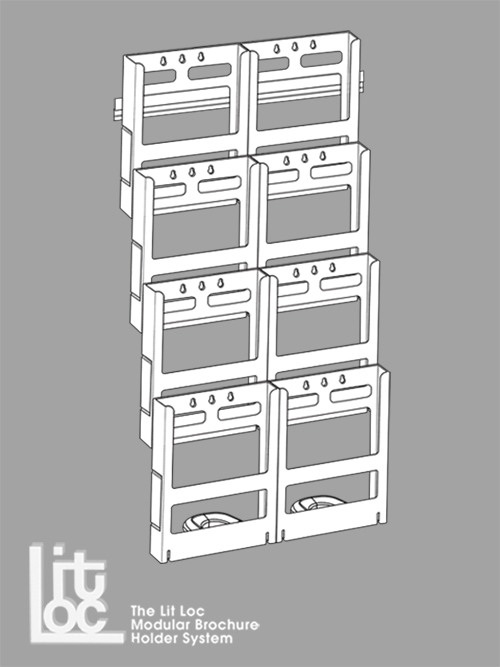 A4 x 8, 4 Tier x 2 Wide with 445mm Wall Mounting Bar and Spacers