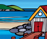 AB08 Art block small Boatshed with rocks