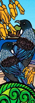 AB56 Art block large Tui on Kowhai