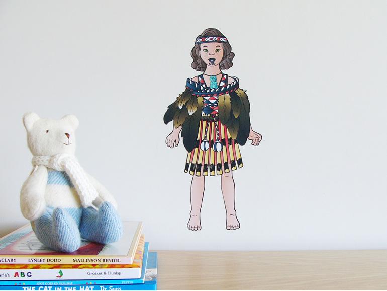 Abby's Maori Costume dress up doll wall decal