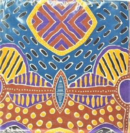 Aboriginal Art Tea Towel - Blue & Brown