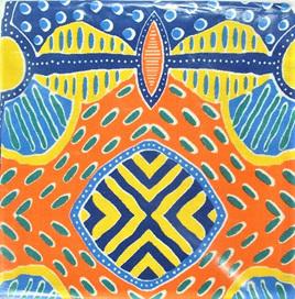 Aboriginal Art Tea Towel - Blue, Yellow & Orange