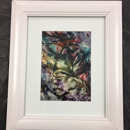 Abstract Encaustic (Wax) Framed Art