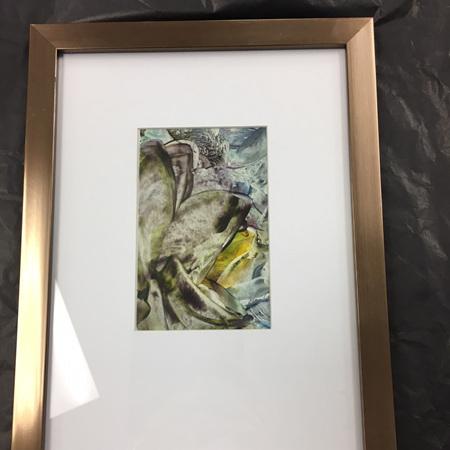 Abstract Encaustic (Wax) Framed Art - Bronze Frame