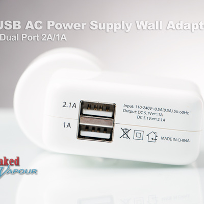 USB AC Power Supply Wall Adapter - Dual Port 2A/1A