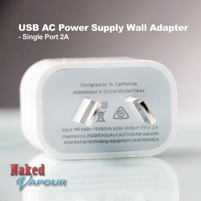 USB AC Power Supply Wall Adapter - Single Port 2A