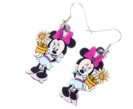 Acrylic Dangle Drop Minnie Mouse with Flowerpot Earrings