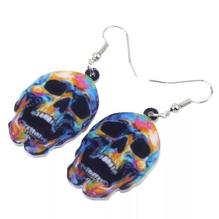 Acrylic Dangle Drop Multi Colour Skull Earrings