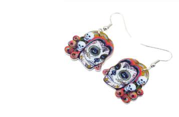 Acrylic Dangle Drop  Multi Skull  Earrings