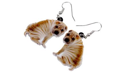 Acrylic Dangle Drop  SharPei Dog Earrings