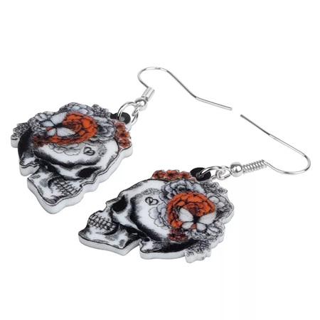 Acrylic Dangle Drop  Skull & Butterfly Earrings