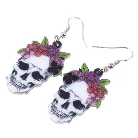 Acrylic Dangle Drop Skull Earrings - #104