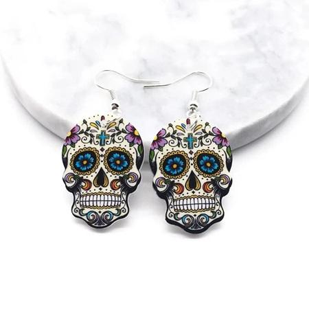 Acrylic Dangle Drop  Skull  Earrings #1221