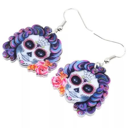 Acrylic Dangle Drop Skull Earrings - Purple Hair