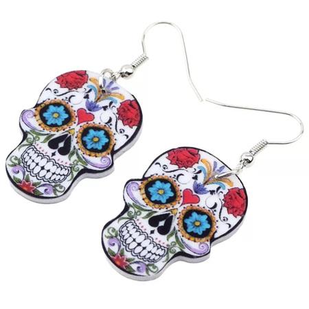 Acrylic Dangle Drop Skull Earrings - Red Heart, Blue Flower Eyes