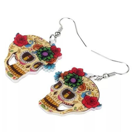 Acrylic Dangle Drop  Skull & Floral Earrings #1233