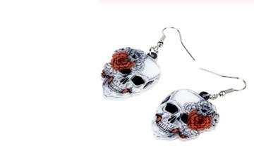 Acrylic Dangle Drop  Skull & Roses Earrings
