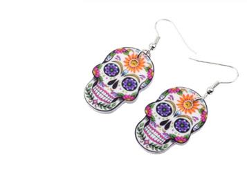 Acrylic Dangle Drop Sugar Skull Earrings - Sunflower