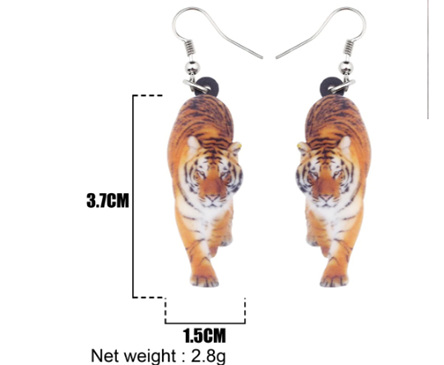 Acrylic Dangle Drop  Tiger  Earrings
