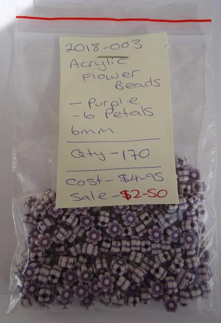 Acrylic Flowers - Purple - 6mm