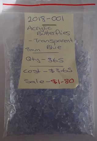 Acrylic Transparent Blue Butterflies - 8mm