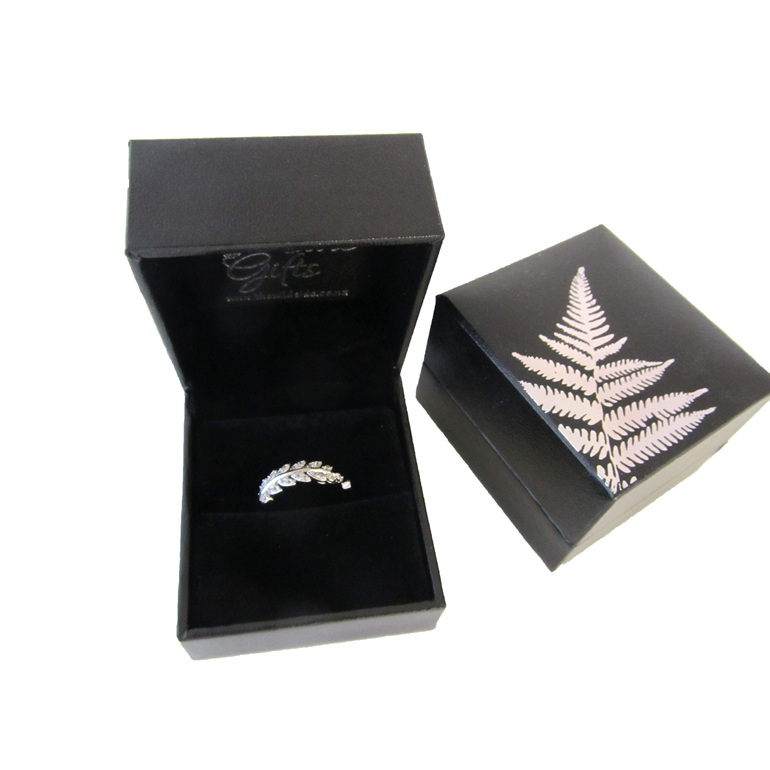 Adjustable sterling silver fern ring.