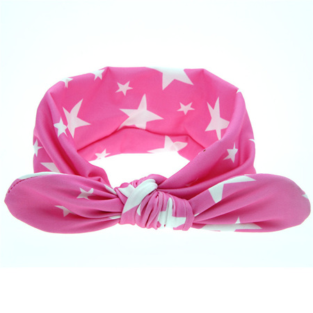 ADORABLE PINK WITH WHITE STARS KNOT HEADBAND