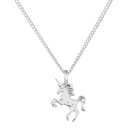 Adorable Silver Unicorn Pendant Necklace