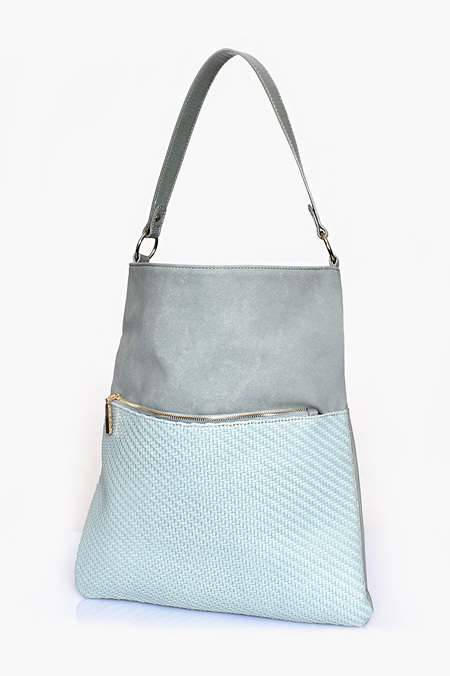 Adorne Weave Suede and Reptile Shoulder Bag
