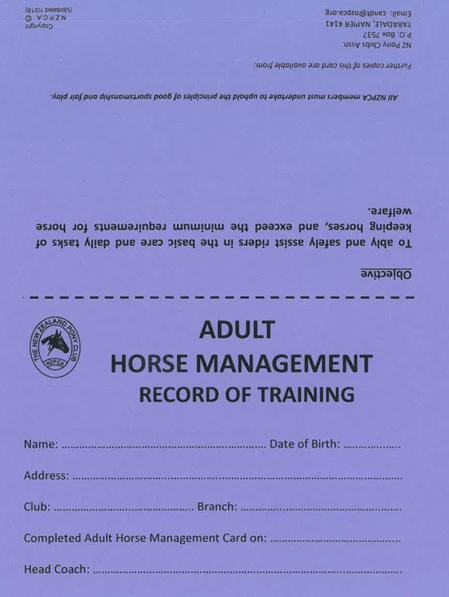 Adult Horse Management Card