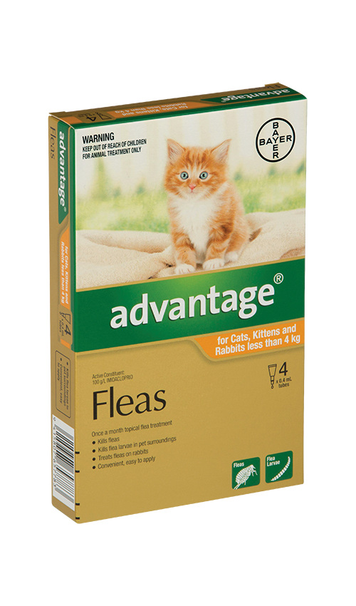 Advantage® Flea Treatment for Cats, Kittens and Rabbits less than 4kg,  4 or 6 pack