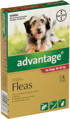 Advantage® Flea Treatment for Dogs  10-25kg,  4 pack