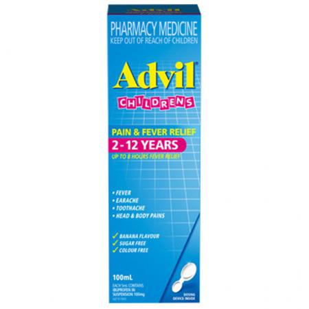 Advil Children 2-12 Years Pain & Fever Relief Banana 100mL