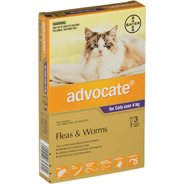 Advocate® Flea and Worm Treatment for Cats over 4kg, 3 or 6 pack