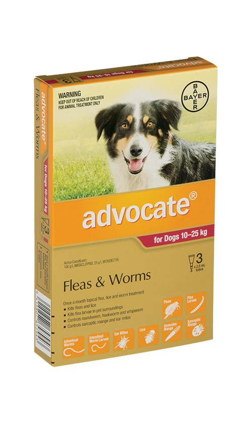 Advocate® Flea and Worm Treatment for Dogs 10-25kg,  3 pack