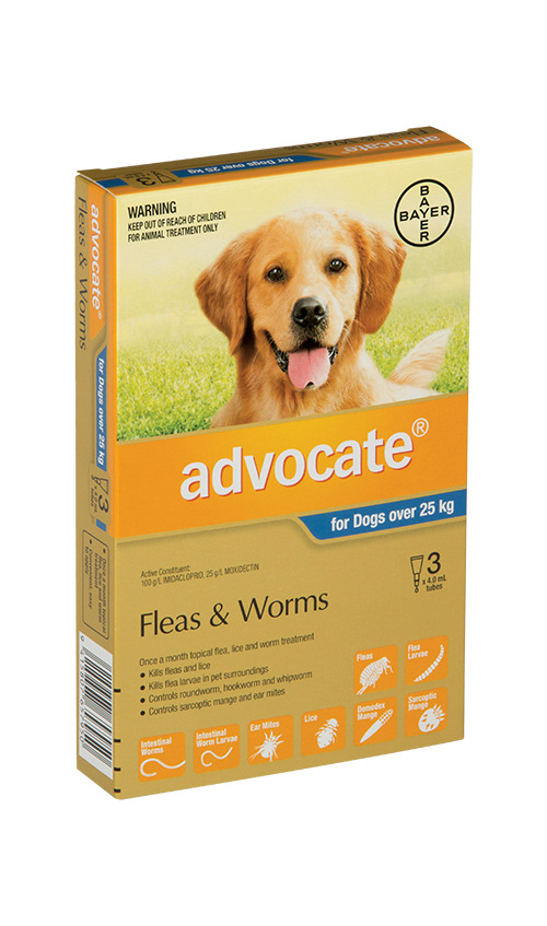 Advocate® Flea and Worm Treatment for Dogs over 25kg, 3 or 6 pack