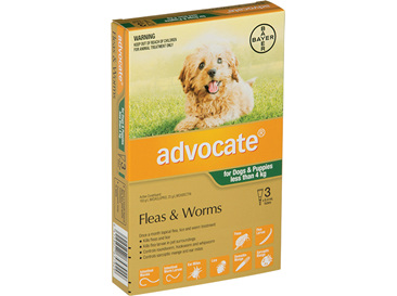 Advocate® Flea and Worm Treatment for Dogs & Puppies less than 4kg, 3 pack