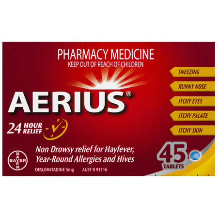 Aerius 24 Hour Non Drowsy Allergy Relief Antihistamine Tablets 45 pack