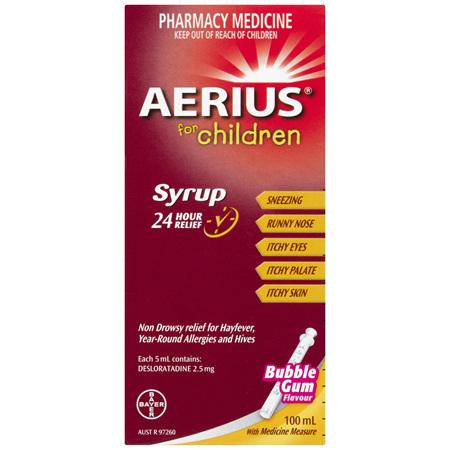 Aerius for Children Allergy Relief Antihistamine Bubblegum Syrup 100mL