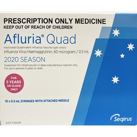AFLURIA QUAD 2020 10X0.5ML PREFILLED SYRINGE+NEEDLE