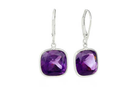 African Amethyst and Gold Drop Earrings