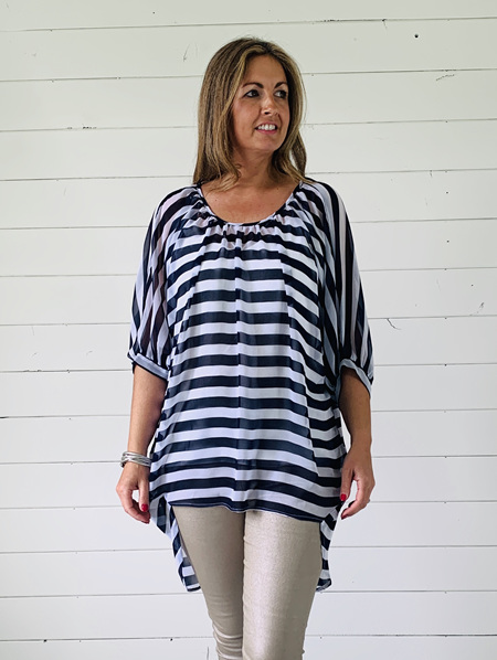 Aimee Top - Navy/White Stripe