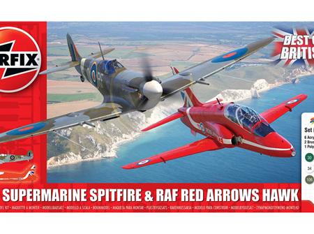 Airfix 1/72 Best of British Supermarine Spitfire & RAF Red Arrows Hawk (A50187)